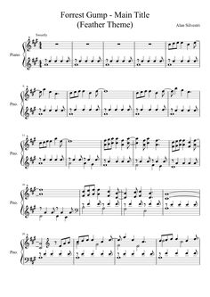 Forrest Gump - Main Title (Feather Theme) sheet music composed by Alan Silvestri – 1 of 3 pages Popular Piano Sheet Music, Free Sheet Music, Piano Music, Piano Songs, Music Sheets, Forrest Gump, Theme Tunes, Theme Song, Piano Lessons
