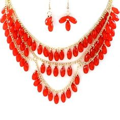 Red Layered Stone Necklace Set