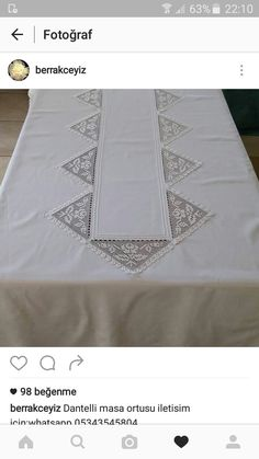 This Pin was discovered by Nej Drawn Thread, Crochet Tablecloth, Quilted Table Runners, Bead Loom Patterns, Loom Beading, Textiles, Embroidery Stitches, Tatting, Decoration