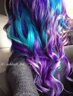 Purple turquoise blue dyed hair color