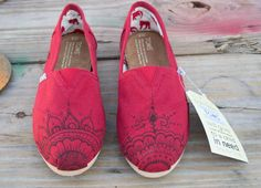 Hand Painted Toms Shoes - Red Mehndi Henna Design Painted Canvas Shoes Made to Order. $85.00, via Etsy.