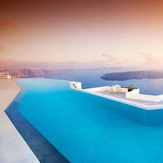 The infinity pool at the Grace Santorini at Imerovigli, Santonini, which overlooks the Greek island's famed caldera view.