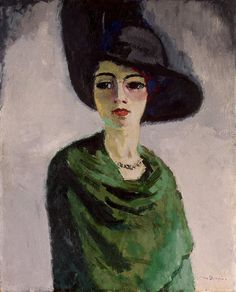 Woman in a Black Hat - Kees Van Dongen - Drawings, Prints and Painting from Hermitage Museum