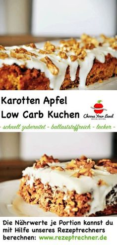 Low Carb Kuchen Rezept – karotten apfel kuchen rezept – wenig kohlenhydrate – oh… Low carb cake recipe – carrots apple cake recipe – low carbs – no sugar – no flour – gluten free – recipe for apple pie low carb Low Carb Cake, Brownie Low Carb, Low Carb Carrot Cake, Low Carb Desserts, Healthy Desserts, Low Carb Recipes, Healthy Cake, Healthy Drinks, What Is Healthy Eating