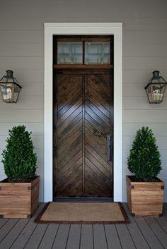 Home outdoor color   Beautiful Doors - split chevron wood front door via Style BluePrint