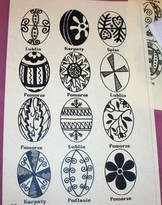 Polish Easter Egg designs from different regions of Poland