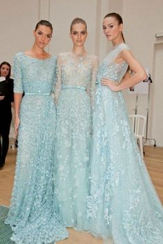 2013 Wedding Dresses ? Elie Saab Special Design Gown#light auqa tulle hand beaded#pale blue evening dress with bow belt and 3D flowers3bridesmaids dresses idea
