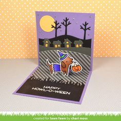 the Lawn Fawn blog:  Everyday Pop-Ups, Stitched Hillside Pop-Up & Happy Howloween card by Chari Moss.