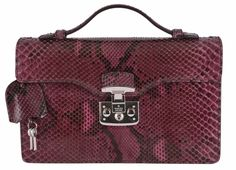 NEW Gucci 331823 Purple Wine Python Snake SMALL Lady Lock Structured Purse Bag #Gucci #Satchel