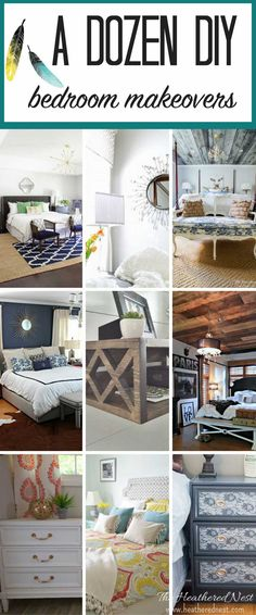 12 FANTASTIC DIY bedroom ideas!! From floating bedside tables, to barn board wood ceilings, this collection of DIY bedroom projects is OUTSTANDING!!