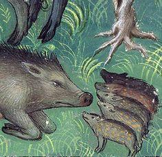 Listen up, piglets! Gaston Phoebus, Livre de la chasse, Paris c. 1407 (Morgan, MS M. 1044, f. 20v)