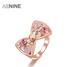 Trendy Pink Rhinestone Bow knot Rings Rose Gold Color Crystal Micro-Inserted Wedding Rings Jewelry //Price: $9.49 & FREE Shipping //     #design