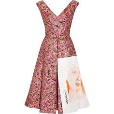 Prada Silk faille-paneled metallic jacquard midi dress (4 760 AUD) ❤ liked on Polyvore featuring dresses, pink, pink silk dress, jacquard dress, a line cocktail dress, black and gold dresses and pink midi dress