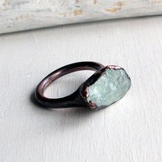 Raw Blue Topaz Copper Ring by Midwest Alchemy