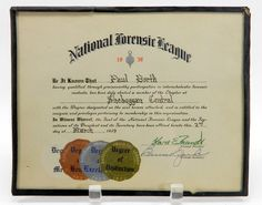 National Forensic League Certificate 1939 by QueeniesCollectibles
