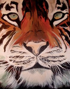 Tiger Face upclose orginal acrylic painting by shotviatheink, $45.00