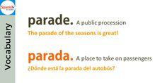 Don't be tricked by English-#Spanish false cognates: parade / parada