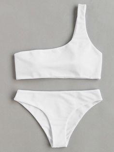 Buy it now. One Shoulder Bikini Set. White Bikinis Sexy Vacation Push Up Polyester NO Swimwear. , bikini, bikini, biquini, conjuntosdebikinis, twopiece, bikini, bikini, bikini, bikini, bikinis. SheIn swimsuit for woman.