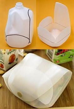 Family living site Disney Family Fun shows us how to repurpose an empty milk jug into a lunch container by washing it out, drawing lines as shown in the photo, cutting it out, folding, and attaching a hook and loop closure.    This container is perfectly sized for a sandwich and a few carrot sticks or grapes. If you don't want to use this for food it also makes a clever gift box for small items.