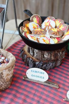 Camping themed birthday- Camping cookies display