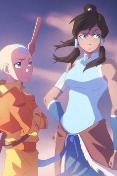 Aang and Korra :3  (Avatar the last air bender and Legend of Korra)