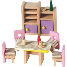 Wooden Dolls House Dining Room Furniture