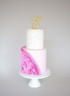 Ruffles and Confetti Christening Cake by Sweet Tiers