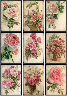 Decoupage Vintage, Vintage Paper, Vintage Labels, Vintage Ephemera, Vintage Rosen, Decoupage Printables, Illustration Blume, Image Clipart, Paper Crafts