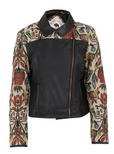 Pleather biker with tapestry sleeves (R1,549) by Bellfield