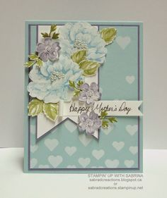 like the cut out flowers   and the large banner   Stamp & Create With Sabrina: More Stippled Blossoms - Mother's Day Card