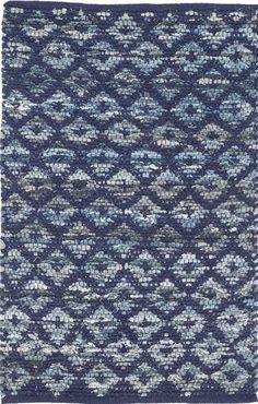 Dash and Albert Denim Rag Diamond Indigo Cotton Rug <font color=a8bb35> NEW</font>