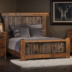 Pallet Furniture Adventure Mountain Timber Frame Panel Bed With Gray Panel Footboard - Pallet Patio Furniture, Painted Bedroom Furniture, Rustic Furniture, Home Furniture, Furniture Design, Furniture Ideas, Furniture Stores, Luxury Furniture, Cheap Furniture