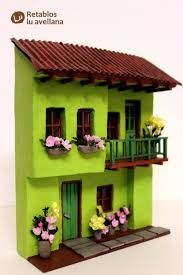 Resultado de imagen para retablos en miniatura Clay Houses, Ceramic Houses, Putz Houses, Paper Houses, Miniature Fairy Gardens, Miniature Houses, Hobbies And Crafts, Diy And Crafts, Glow Table
