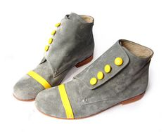 Bootie Grey  Grey and yellow leather by QuieroJune on Etsy