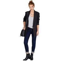 JZOEOEU Women's Junior Long Sleeve Office Blazers One Button Jacket Shawl Collar Suits X-Large Black