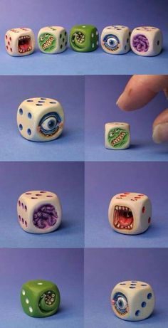 Monster Dices you can buy them here: www. The Effective Pictures We Offer You About Tabletop Games miniatures A quality picture can tell you many things. You can find the most beautifu Cafe Geek, Clay Crafts, Diy And Crafts, Dungeons E Dragons, Art Et Design, Board Game Design, Toy Art, Paperclay, Tabletop Games