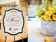 """Operation Shower """"Sea to Shining Sea"""" Baby Shower: map paper + rope-wrapped cans for centerpiece flowers"""