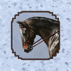 Horse Painting - Brown Dressage Horse Pillow Blue by Crista Forest