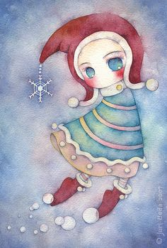 """making snow in the December sky..  tiny watercolor doodle for christmas card.  18cm x 28cm / 7"""" x 11"""" / watercolor on paper / 2007  *sold*"""