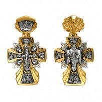 """Zdrowaś Maryjo """"i"""" Vsetsaritsa sześć świętych.  Szkaplerz bielizna na łańcuchu 925 srebra ze złotem"""