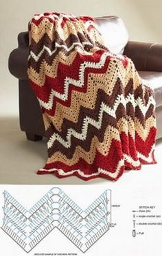 Get into the autumn groove with this beautiful crochet afghan pattern. The Fall Zig Zag Afghan Pattern is as cozy as it looks. Warm tones make it the best blanket for cuddle on a brisk, fall day. Crochet Unique, Love Crochet, Single Crochet, Crochet Baby, Knit Crochet, Popular Crochet, Modern Crochet, Motifs Afghans, Afghan Crochet Patterns