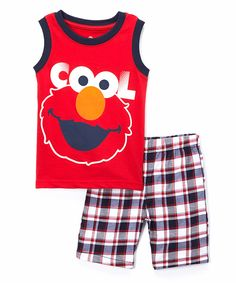 This Red Elmo Tank & Plaid Shorts - Toddler by Sesame Street is perfect! #zulilyfinds