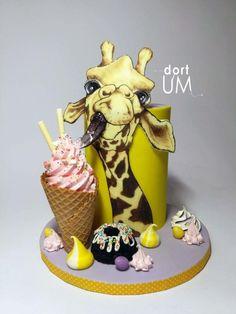 Giraffe Cakes, Safari Cakes, Crazy Cakes, Gorgeous Cakes, Amazing Cakes, Fondant Cakes, Cupcake Cakes, Jungle Cake, Cute Birthday Cakes