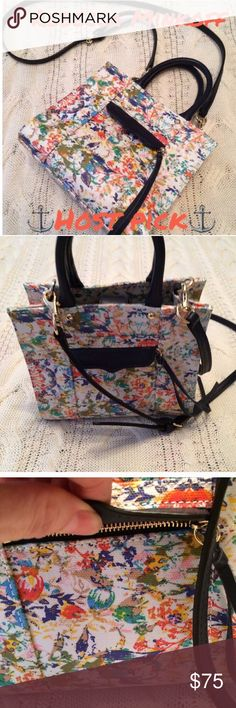 Rebecca Minkoff mini M.A.B. tote multicolored ⚓Host Pick 3/21/17  @kmariec⚓ Rebecca Minkoff mini M.A.B. Tote multicolored pattern...has handle 4.5 in drop or removable strap with 18 in strap drop...blue strap and handle...front small zipper pocket covered with blue flap..inside has a slot pocket..closes with a small middle strap that buttons..8 in width x 7.5 in height x 4 in depth..NO dust bag..EUC, small flaw on the handle, see pic. 1/2/18 Rebecca Minkoff Bags