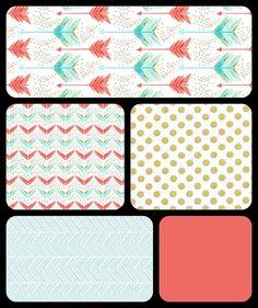 Crib Bedding Set - 4 Piece Set - Crib Bumper, Fitted Crib Sheet, Crib Skirt, Blanket - Coral, Aqua, Mint, Gold Arrow Bedding Set