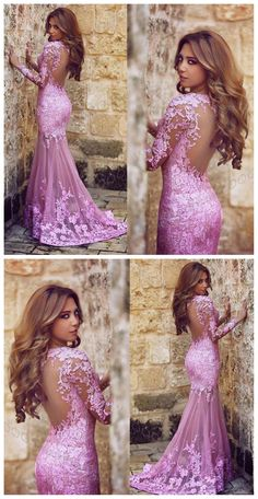 Long Sleeve Lace Prom Dresses, Lilac Lace Prom Dress, Long Prom Dress, Sexy Prom Dress, Dresses For Prom, Fashion Party Evening Dresses, PD1702