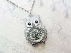 Silver Owl Necklace The ORIGINAL Tree of Life OWL por birdzNbeez