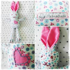 Happy Bunny, Fabrics 100% cotton. Filling 100% polyester. It can be machine wash at 30 degrees.  Dim: 41x25 cm