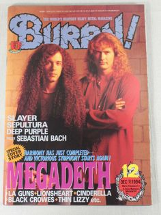 1994/12 BURRN! Japan Rock Magazine MEGADETH/SLYER/LIONSHEART/BLACK CROWES