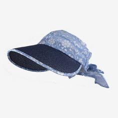 Summer bow visor hats for women UV sun protection hats flower pattern